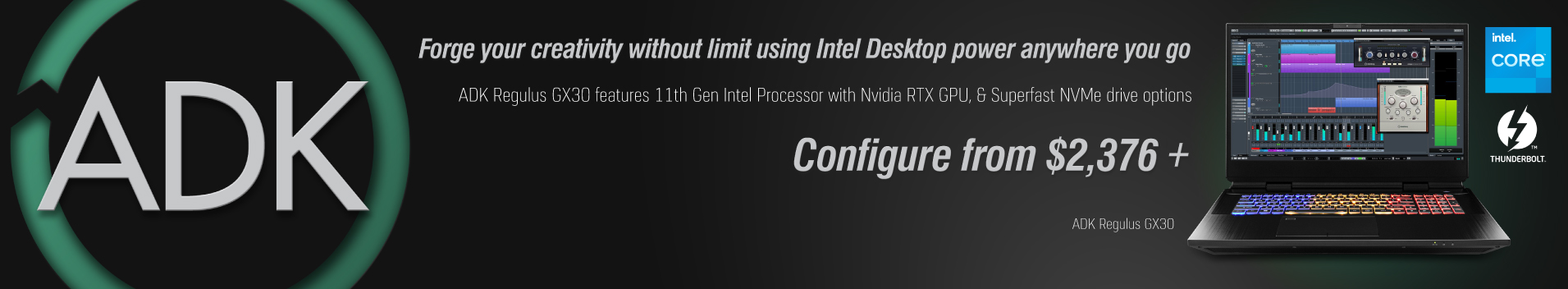 ADK Regulus GX30 features 11th Gen Intel Processor with Nvidia RTX GPU, & Superfast NVMe drive options