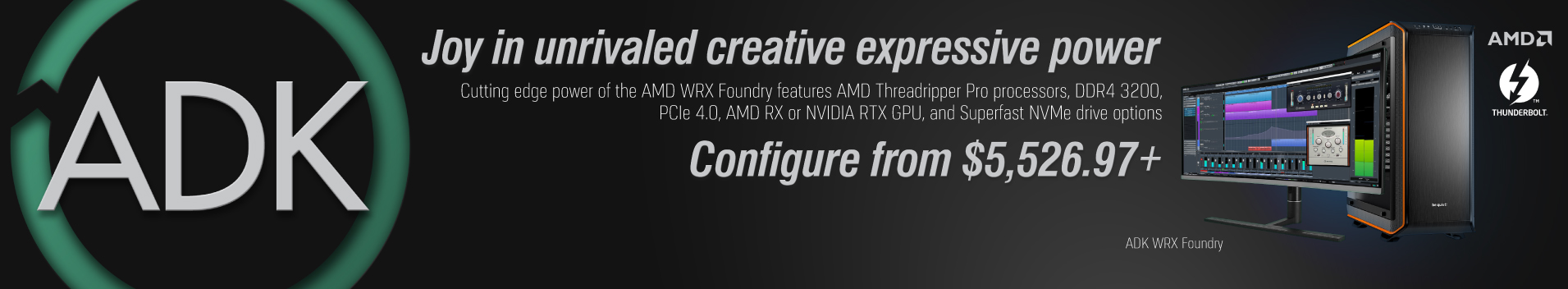 AMD WRX Foundry features AMD Threadripper Pro processors, DDR 3200, PCIe 4.0, AMD RX or NVIDIA RTX GPU, and Superfast NVMe drive options.